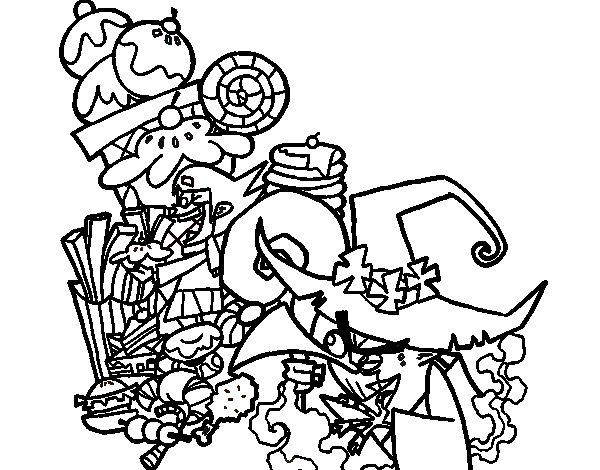 Gretel and the witch coloring page