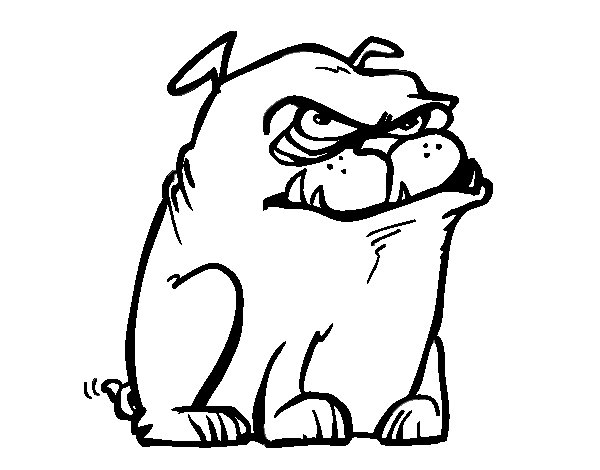 Grumpy dog coloring page