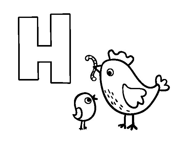 H of Hen coloring page