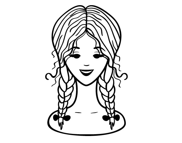hairstyle: two braids coloring page - Coloringcrew.com