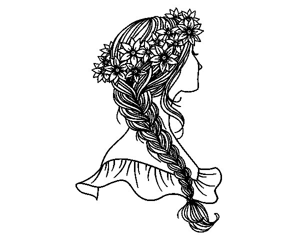 Hairstyle with braid coloring page - Coloringcrew.com