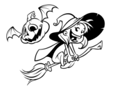 Dibujo de Halloween witch and pumpkin