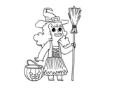 Halloween witch costume coloring page