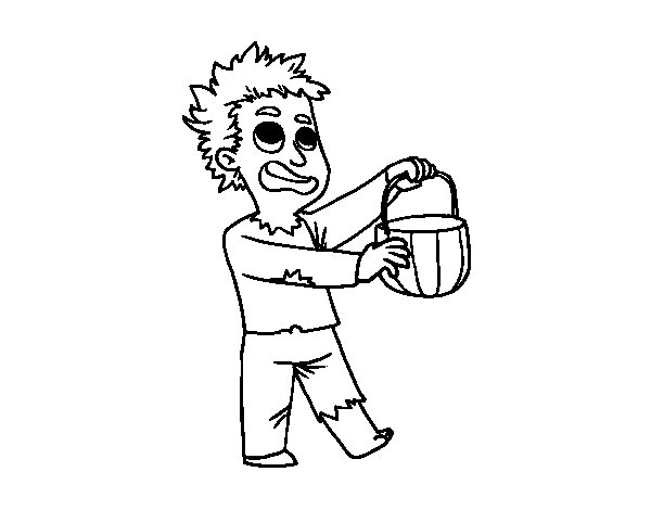 Halloween zombie costume coloring page