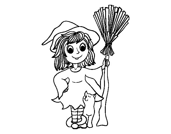 Hallowen witch costume coloring page