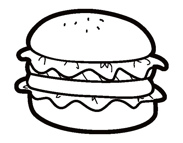 Hamburger with lettuce coloring page