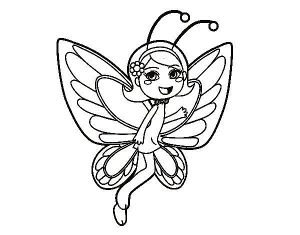Happy butterfly fairy coloring page - Coloringcrew.com