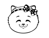 Happy cat girl face coloring page