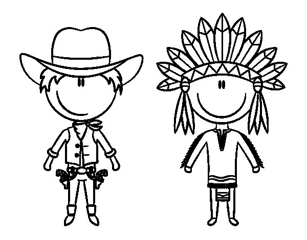Happy cowboy and Indian coloring page