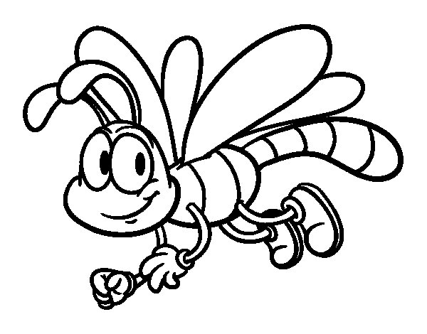 Happy Dragonfly Coloring Page