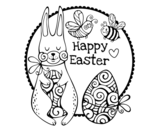 Happy Easter Card coloring page