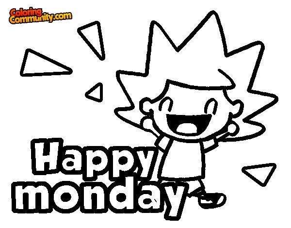 Happy monday coloring page