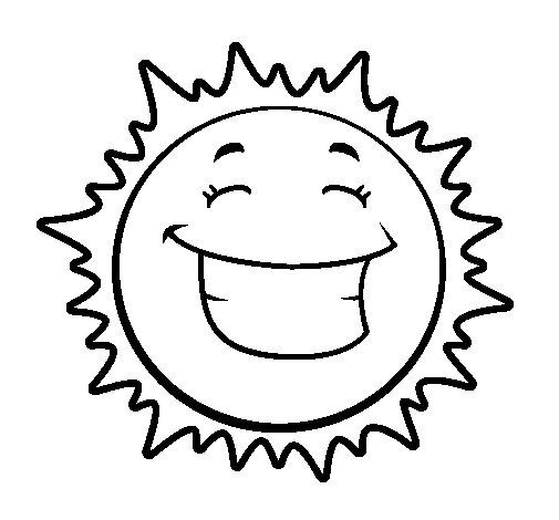 Happy sun coloring page