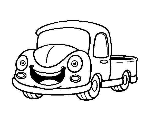 Happy van coloring page