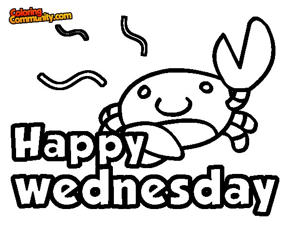 Happy wednesday coloring page