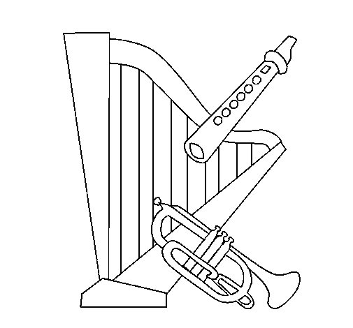 harp flute and trumpet coloring page