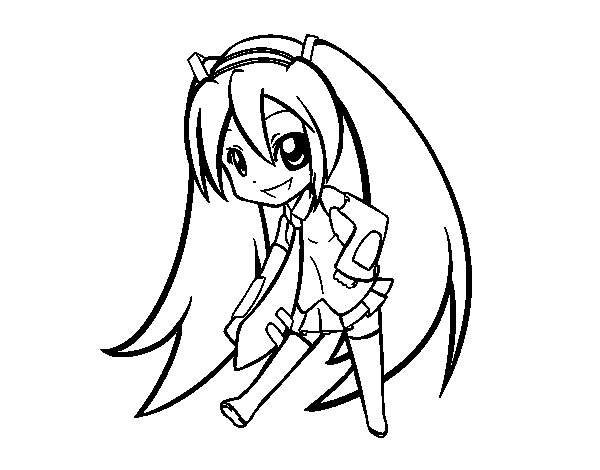 Hatsune Vocaloid coloring page