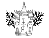 Haunted Halloween mansion coloring page