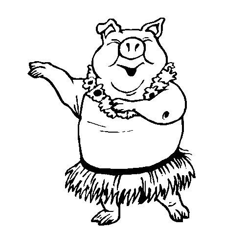 Hawaiian pig coloring page