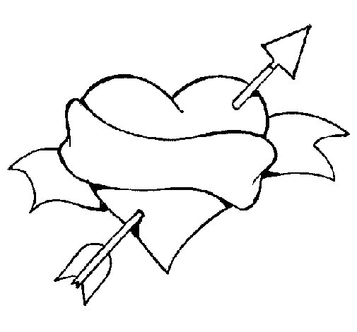 heart arrow and ribbon coloring page