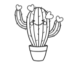 Heart cactus coloring page