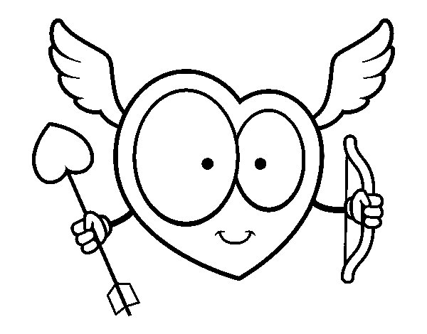 Heart Cupid coloring page