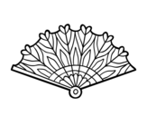 Heart hand fan coloring page