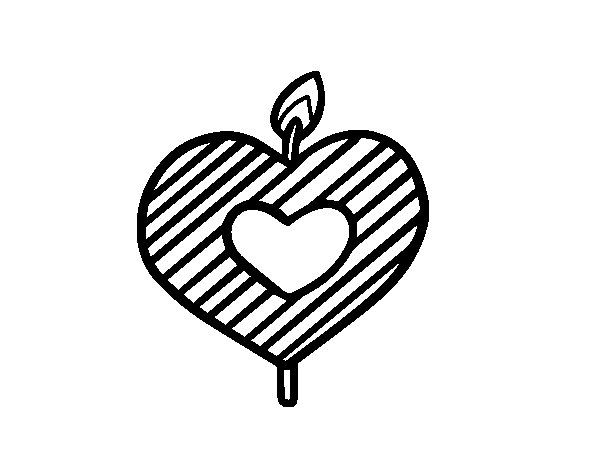Heart-shaped candle coloring page