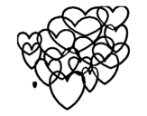 Hearts glued coloring page