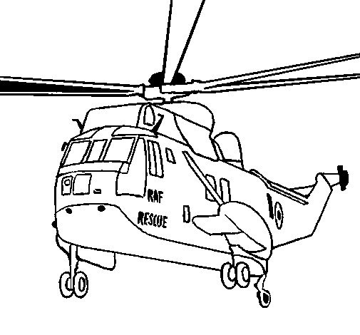 Helicopter to the rescue coloring page
