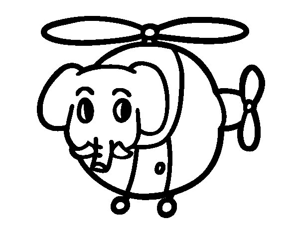 Helicopter with elephant coloring page