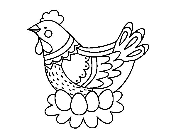 Hen with Easter eggs coloring page
