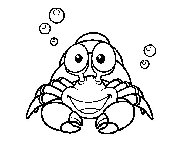 Hermit crustacean coloring page