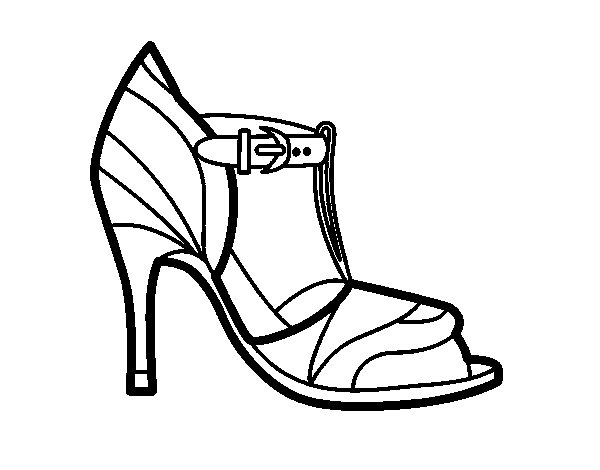 High heel shoe with uncovered tip coloring page
