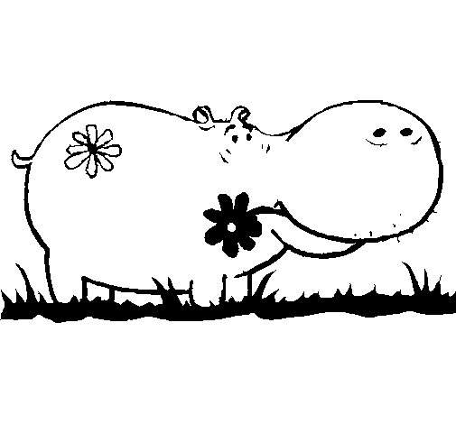 Hippopotamus with flowers coloring page