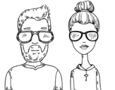 Hipsters coloring page