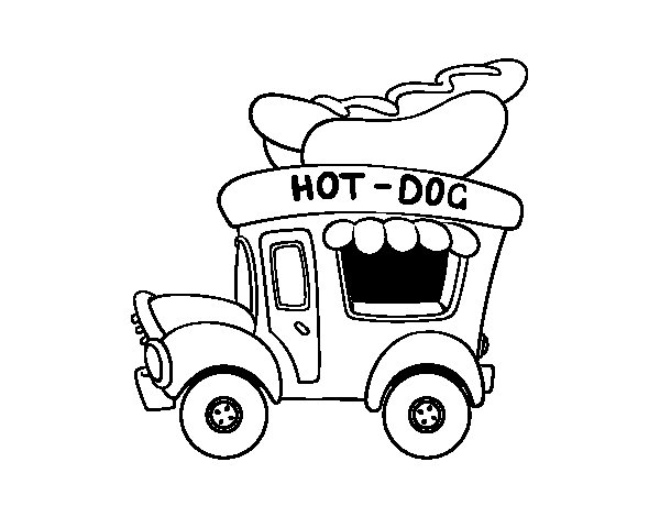 Hot dog food truck coloring page