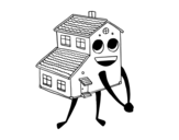 House smiling coloring page