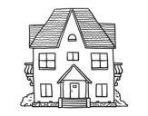House with balconies coloring page