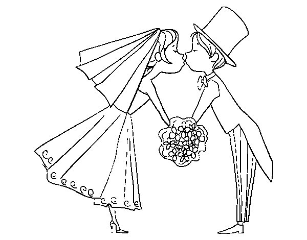Husband and wife kissing coloring page