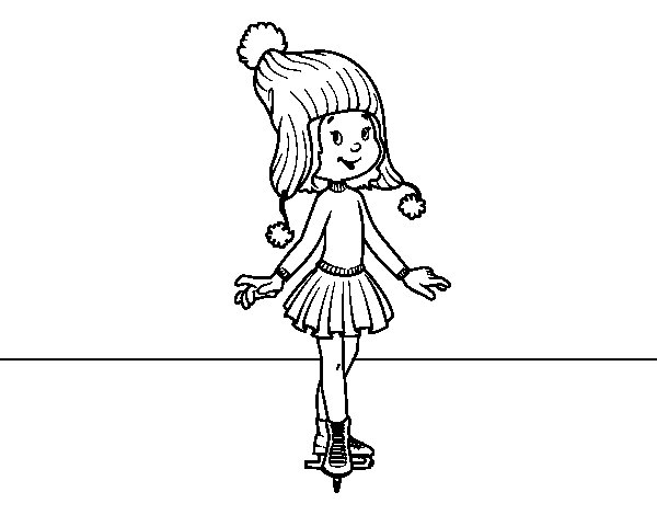 Ice skater with cap coloring page