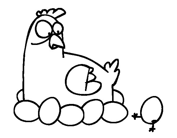 Incubating chicken coloring page