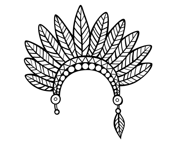 Indian feather crown head coloring page for Indian feathers coloring page