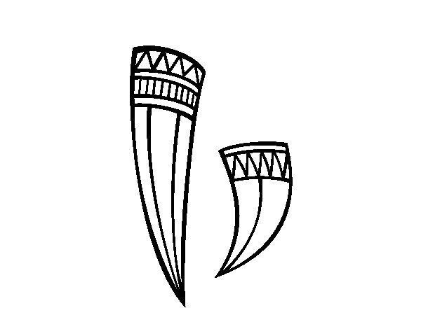 Indian horns decorated coloring page