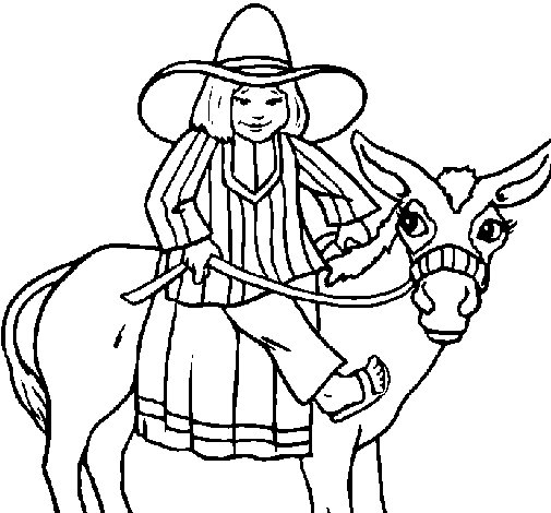 Indian on a donkey coloring page
