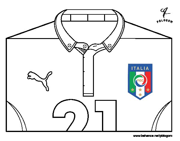 Italy World Cup 2014 t-shirt coloring page