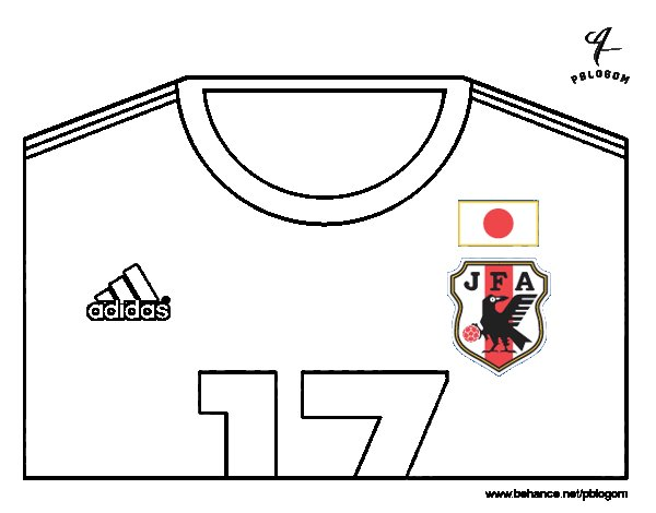 Japan World Cup 2014 t-shirt coloring page