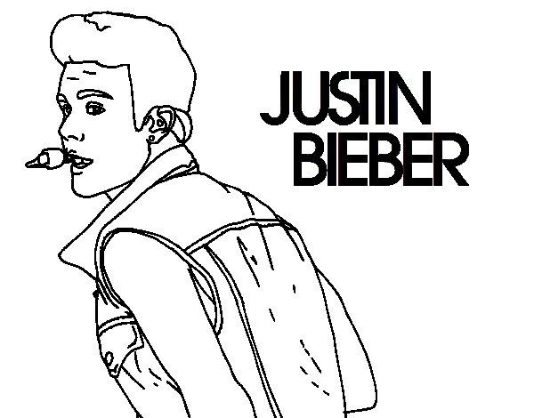 Justin Bieber singing coloring page