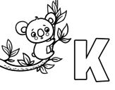 K of Koala coloring page