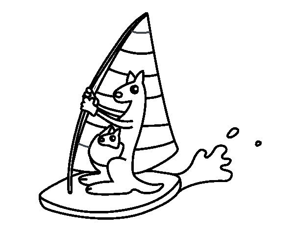Kangaroos on a surfboard coloring page